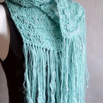 Boho Scarf for Women or Teen Girls Mint Green Shades Loose Knit Scarf with extra long Fringes Gift for Her Gift under 40 FREE SHIPPING
