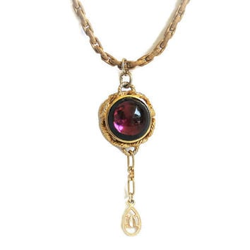 Vintage Purple Glass Bead Pendant Statement Necklace In Gold Tone