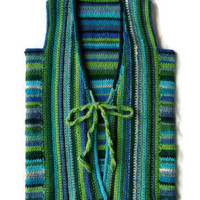 Crocheted Boho / Hippie Style Cardigan Vest Size Medium Green And Blue Stripes Llama Yarn