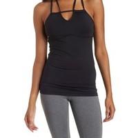 Black Strappy Caged Active Tank Top by Charlotte Russe