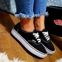 Vans White/Black Classic Canvas Sneakers-2