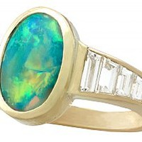 1.40ct Opal and 1.12ct Diamond, 18ct Yellow Gold Dress Ring - Vintage French Circa 1990
