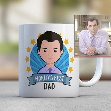 Fathers Day Gift Dad Gift Coffee Mugs Cute Mugs Custom Photo Illustration Flat Avatar Worlds Best Dad