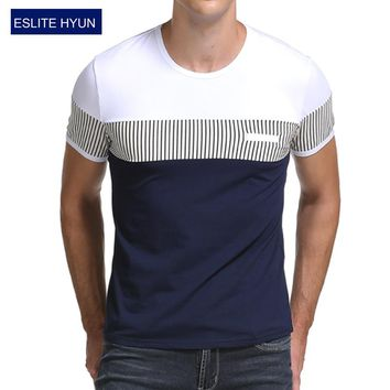Men's T Shirt Casual Patchwork Short Sleeves