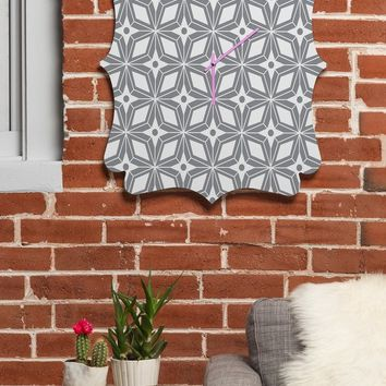 Heather Dutton Starbust Grey Quatrefoil Clock