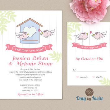 Lesbian Wedding Invitation and RSVP card set | Same Gender Wedding | Love Birds | Bride and Bride
