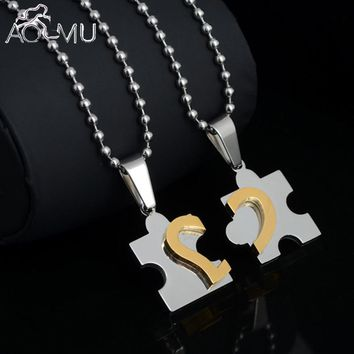 AOMU 2Pcs Men Women Couple Stainless Steel Love Heart Chain Puzzle Pendant Necklace for Lover Valentine Gifts