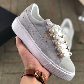 """PUMA""Platfrom Kiss Suede New Fashion Women Casual Pearl Thick Soles Sport Shoes Sneakers Grey I-AA-SDDSL-KHZHXMKH"