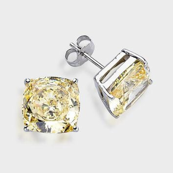 14K Solid White Gold Princess Square Canary yellow CZ Stud Earrings Basket .
