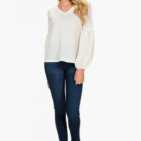 Balloon Sleeve Top, Cream