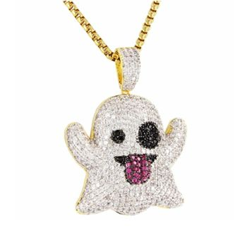 Custom Snapchat Ghost Pendant Simulated Diamond Necklace