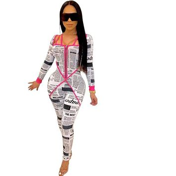 Women Sexy Newspaper Print Neon Straps Long Sleeve Fashion Jumpsuit