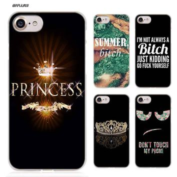 BiNFUL Bitch queen princess Hard Clear Case Cover Coque for iPhone X 6 6s 7 8 Plus 5s SE 5 4s 4 5c