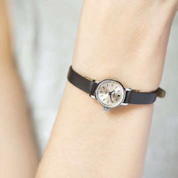 Small watch for women, micro watch silver shade mint condition, petite lady watch Seagull, classic watch gift, new premium leather strap