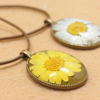 Vintage Style Handmade Chrysanthemum Specimens Necklace Gift 137