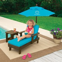 Sun Smarties Outdoor Chaise with Umbrella and Table TURQUOISE