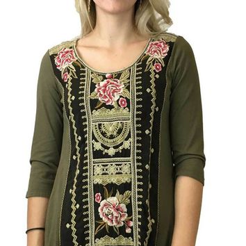 DCCKAB3 Johnny Was Vintage Military Green Leith Woven Panel Tunic
