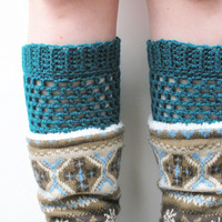 Deep Teal Crochet Boot Cuffs, ready to ship. Free US Shipping with code OLYMPIA at checkout, ends 10-1-2013.