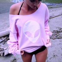 Loose Alien Long Sleeve Cotton Sweatshirt Tops Shirt [9430384324]