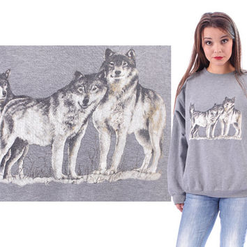 3D Print Wolf Sweatshirt 3 WOLFS Vintage 80s Grey Animal Printed Unisex Pale Grey White Long Sleeves Hipster Grunge 1990s Cotton XL to XXL