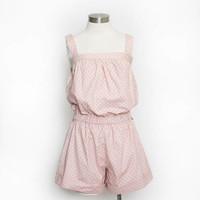 Vintage 1980s Jumpsuit - Polka Dot Pink Shorts Pin Up Playsuit 80s - XS Extra Small