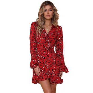 Ladies V-neck Dresses Woman Dress Long Sleeved Printed Dress Ruffled Leopard Print Autumn Red Sexy Party Dresses