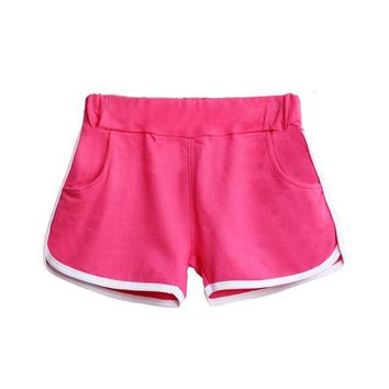 Summer Elastic Waist Casual Loose Women's Shorts.    Available in Black, Black with White Stitching on Pockets, Gray, Blue, Green, Rose, White and Red.    Sizes Small to Large.    ***FREE SHIPPING***