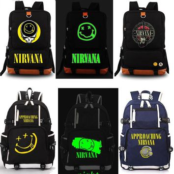 NIRVANA Rock Band Backpack Unisex Fashion Backpack Laptop Backpack school bag Black Backpack