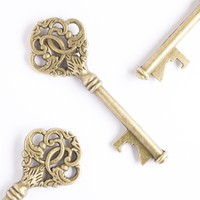 50 Key Bottle Openers - Antique Gold Leaf Keys