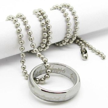 Silver -Color Round Pendant Necklaces
