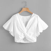 V-neckline Twist Knot Front Crop Top