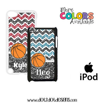 iPod Touch 4th / 5th Generation Case / Cover - Bling / Glitter Chevron - Basketball - Girl - Monogram - Personalized iPod Case