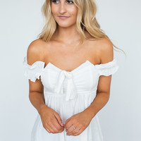 Smocked Off The Shoulder Blouse - White