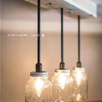 Handmade 3 Light Mason Jar Chandelier - Mason Jar Lights Canada - E12 Bulb 25 Watt - Refined Cedar