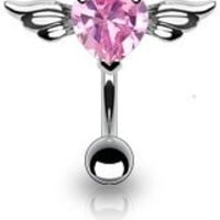 "14G 3/8"" (10 mm) Pink Simulated Diamond Top Down Solitaire CZ Heart with Angel Wings Belly Ring Barbell, Short for Healed Piercing, 316L Surgical Stainless Steel:Amazon:Jewelry"
