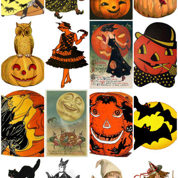 Vintage Halloween Clip Art Images Collage Sheet