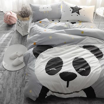Panda fox Bedding set Black and White Duvet Cover Cartoon for children/kids Queen King 4pcs Bedclothes bed linen bed sheet