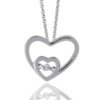 1/10ct tw Diamond Heart Drop of Life Necklace in Sterling Silver - Diamond Necklaces & Pendants - Jewelry & Gifts