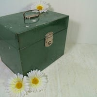 Vintage Hammered Metal Aqua Green OverSized File Box - Challenged Well Used Extra Large Carry All BoHo Industrial Decorative Turquoise Case