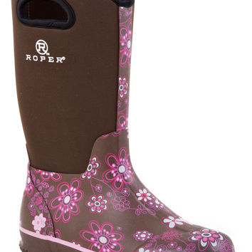 Roper Ladies Western Rubber Syn Barn Boot Boots 12 Barn Boot W Pull Hole On Shaft