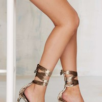 Nasty Gal Velvet Rope Burn Heels - Bronze