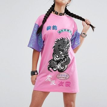 Jaded London Petite Oversized Rock Tshirt Dress With Contrast Sequin Sleeve Detail at asos.com