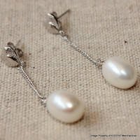 Pearl Dangle Earrings,Wedding Bridal Freshwater Earring Studs,Bridesmaids Jewelry Gift,Sterling Silver, 8-9mm Water Drop Pearls