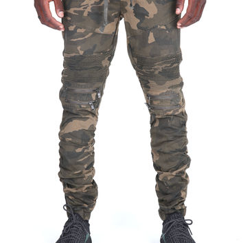 The Tiller Stacked Moto Pants in Camo