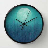 The Moon Shines Bright In Such A Night (Birch Moon) Wall Clock by Soaring Anchor Designs