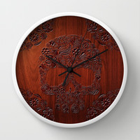 Wood Carved Sugar Skull flower pattern Decorative Circle Wall Clock Watch by Three Second