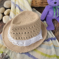 Baby Girl Fedora Hat Crochet Toddler Fedora Cotton Summer Hat Newborn Photography Props Baby Shower Gift Infant Girls Beach Hat