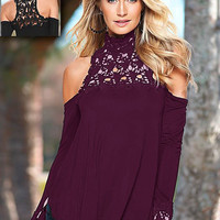 Maroon Long Sleeve Lace Cut-Out Top