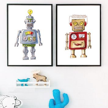 Cartoon Watercolor Robot Wall Art Canvas Painting Nordic Posters And Prints Wall Pictures For Kids Baby Boy Girl Room Home Decor