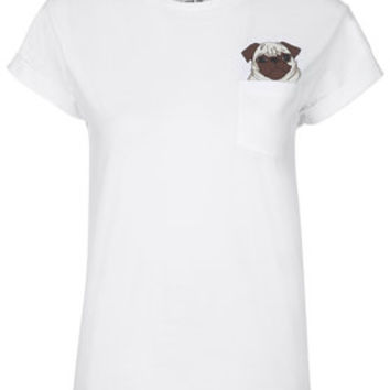 PETITE Pug Pocket Tee By Tee and Cake - Multi